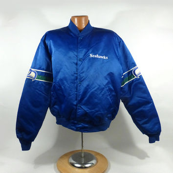 Seattle Seahawks Jacket Vintage Starter 1980s NFL XL Satin