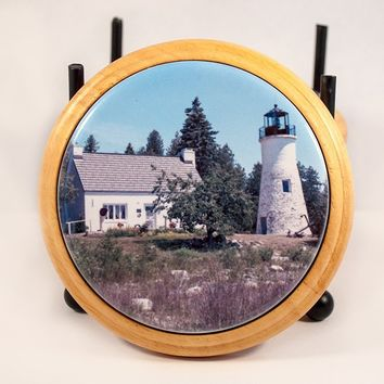 Coaster, Glossy Ceramic Tile in Wood Base, Old Presque Isle Lighthouse Design, Photograph