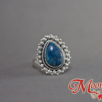 Shattuckite Teardrop Ornate Sterling Silver Ring SS-018