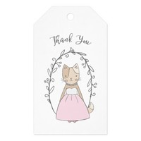Charming Kitty in a Dress Thank You Gift Tags