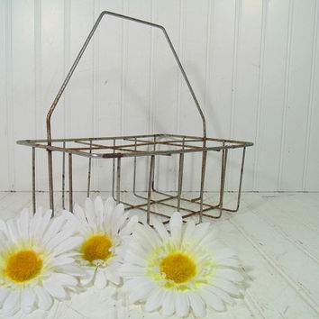 Mid Century 6 Section Metal Milk Bottle Carrier - Vintage Artisans Supplies Cottage Chic Carry All - Rustic Basket Ready for Repurposing