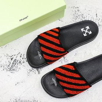 Off-white C/o Virgil Abloh Ow Black Red Slide Slippers - Best Deal Online
