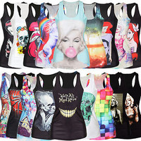 Women Singlet Vest Tank Top Sretchy Blouse Gothic Punk Rock Shirt Clubwear Beach