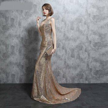 Real Photo Sparkly Gold Sequines Evening Dresses Mermaid Sexy V Neck With Spaghetti Straps V Back Long Prom Dresses