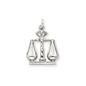 14k White Gold Scales of Justice Charm