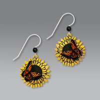 Sienna Sky Earrings - 3D Monarch Butterfly on Sunflower