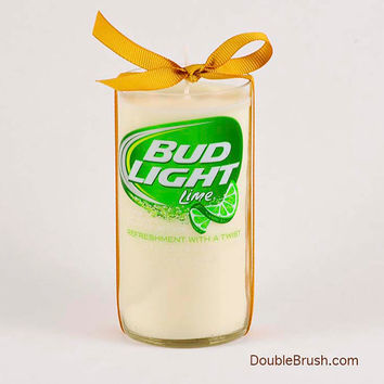 Bud Light Lime Candle Beer Gift for Him Summer Beer Gift for Her Liquor Bottle Candle Gift Green and White Citrus Unique Beer Item Fun Gift