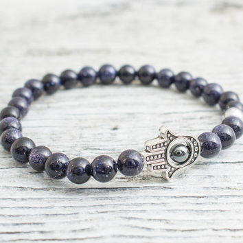 Blue sandstone beaded stretchy silver Hamsa hand bracelet with silver plated hematite bead, mens bracelet, womens bracelet