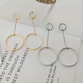 New Korean circle earrings gold and silver long section hollow ring network red cold earrings tassel chain girl earrings LR