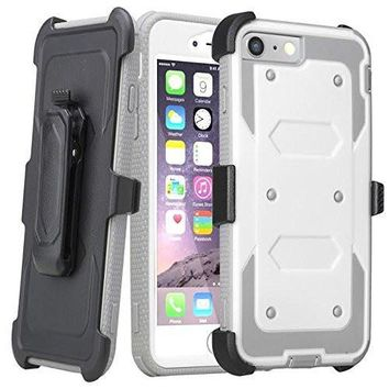 Apple iPhone 7 Plus Case / 6 Plus Case, Triple Protection 3-1 w/ Built in Screen Protector Heavy Duty Rotating Swivel Holster Shell Combo Case for iPhone 7Plus/6Plus - White