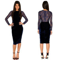 Deluxe Velvet Blue Lace Inset Dress Long Sleeves Cocktail Evening Party Clubwear = 1916278148
