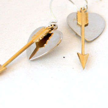 Heart and Arrow Earrings - brass arrows - silver hearts - heart jewelry - Arrow Jewelry - Heart Earrings - Arrow Earrings