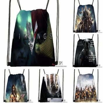 Custom Viking Raider Drawstring Backpack Bag for Man Woman Cute Daypack Kids Satchel (Black Back) 31x40cm#180531-01-34