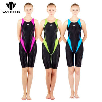 HXBY swimwear swimming suit women swimsuit Competition racing swimsuits knee swim suits plus size one piece  training swimwear