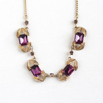 Vintage 12k Rosy Yellow Gold Filled Purple Rhinestone Necklace - Retro 1950s Emerald Cut Simulated Amethyst Leaf Jewelry Signed Van Dell