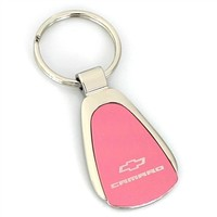 Chevy Camaro Pink Tear Drop Metal Key Ring