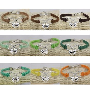 Ufine Dogs Paw Best Friend Cat pendant fashion bracelet For Women velvet Leather Infinity Bracelet Bangle drop shipping