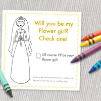 Printable Flower Girl coloring card