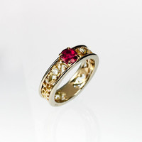 Pink sapphire ring, filigree, yellow gold, white gold, engagement, lace, Pink engagement, sapphire, wedding ring, two tone, anniversary
