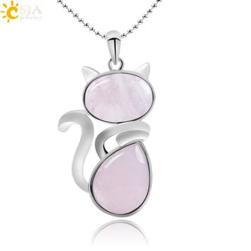CSJA Natural Stone Cute Cat Shape Pendant Fit Necklace Pink Quartz Black Onyx Beads with Chain for Girls Women Jewelry Gift F066