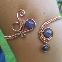 Amethyst Spiral Copper Wire Arm Band/ Anklet- Purple Crystal Beaded Wire Wrap Arm Cuff Bracelet- Handmade Gemstone Goddess Wedding Jewelry