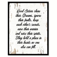Good Sisters Share Their Dreams Quote Saying Home Decor Wall Art Gift Ideas 111746