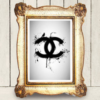 Coco Chanel logo drips - print art poster  - black and white paint artwork