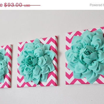 "MOTHERS DAY SALE Wall Art - Set Of Three Mint Dahlia On Hot Pink And White Chevron 12 x12"" Canvas - Mint Wall Art"