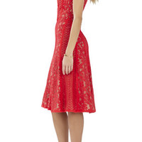 Avril Sleeveless Lace-Blocked Dress - Red