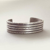 OLD PAWN Native American Indian CUFF Bracelet Solid Sterling Silver Vintage Navajo Jewelry, Southwestern Stampings, Valentines Gift for Her