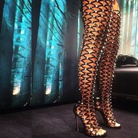 Cut Out Rivets Open Toe Stiletto High Heels Over-knee Boot Sandals