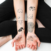 Elephants - Temporary Tattoo Pack (Set of 18)