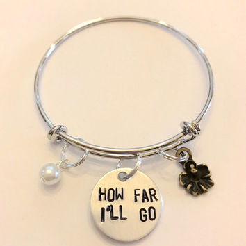 "Moana Inspired Hand-Stamped Bangle Charm Bracelet - ""How Far I'll Go"""