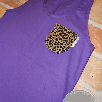 Purple Tank with Leopard Print Fabric Pocket