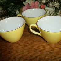 Set of Three Sunny Yellow Tea Cups Coffee Beverage Serving China Replacement Dishes