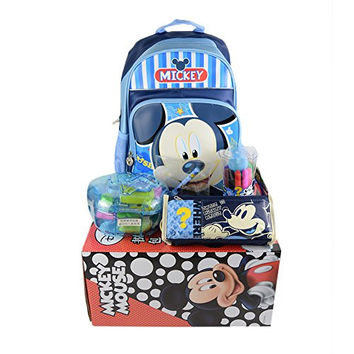 Disney Mickey Minnie Mouse Children Kid Stationery Gift Bag Gift Set Students Gift BoxDM29032 (Blue)