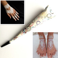 1PC White Ink Color Indian Henna Tattoo Paste Cone For Wedding Stencil Women Body Art Paint Draw Temporary Hand Foot Henna Cream