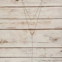 Arrow Shoot Silver Multi-Chain Necklace