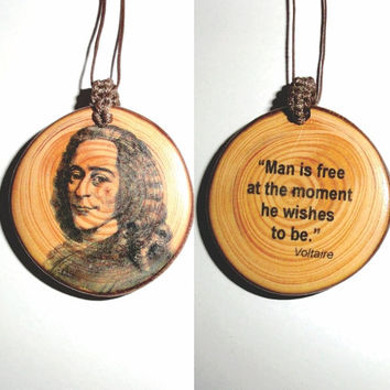 Fashion Jewelry Charm Pendant Choker Chunky bib Statement Necklace Voltaire - Necklace Symbol Pendant Gift Wood Slice Jewellery Man Is Free