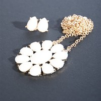 Flower Shape Enamel Necklace Set - Cream from Casual & Day at Lucky 21 Lucky 21