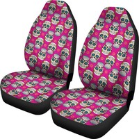 Sugar Skulls Print Pattern Pink Car Seat Covers
