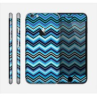 The Thin Striped Blue Layered Chevron Pattern Skin for the Apple iPhone 6