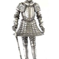 Medieval Knight Statue Wearing Tonlet Armor and Axe 13H