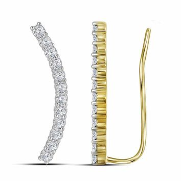 14kt Yellow Gold Women's Round Diamond Curved Contour Climber Earrings 1.00 Cttw - FREE Shipping (USA/CAN)