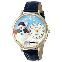 SheilaShrubs.com: Unisex Christmas Snowman Red Leather Watch G-1220008 by Whimsical Watches: Watches