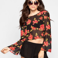 Ali & Kris Floral Print Womens Cross Back Top Red  In Sizes