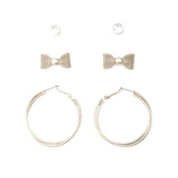 RHINESTONE, BOW & HOOP EARRINGS - 3 PACK
