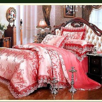 Luxury 6pc. Embroidered Satin Jacquard Rose Pink Cotton Duvet Cover Bedding Set