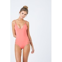 Sun Crater Side Cut Outs One Piece Swimsuit - Tangerine