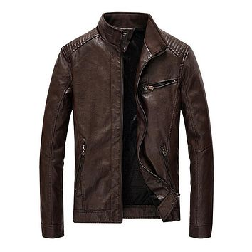 Mens Stand Collar Faux Leather Biker Jacket in Dark Brown